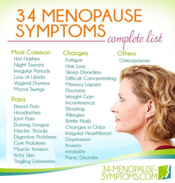 menopause symptoms complete list