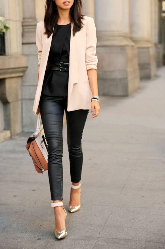 Black leggings and a blazer