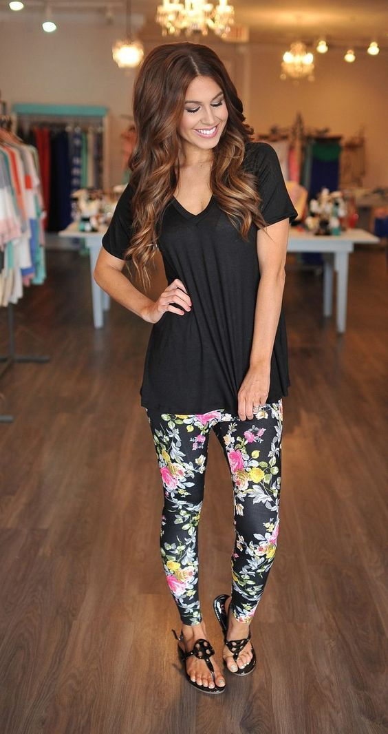Classic floral prints and a black shirt