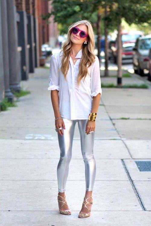 Metallic or gold leggings