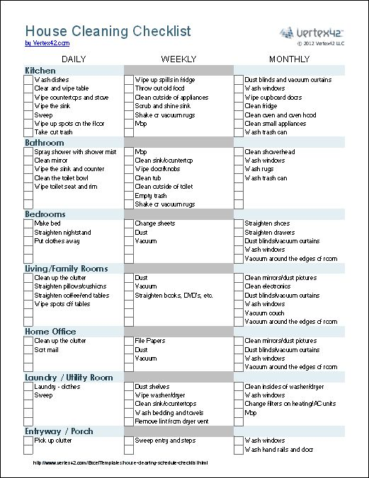 House Cleaning Checklist Cleaning schedule for working moms