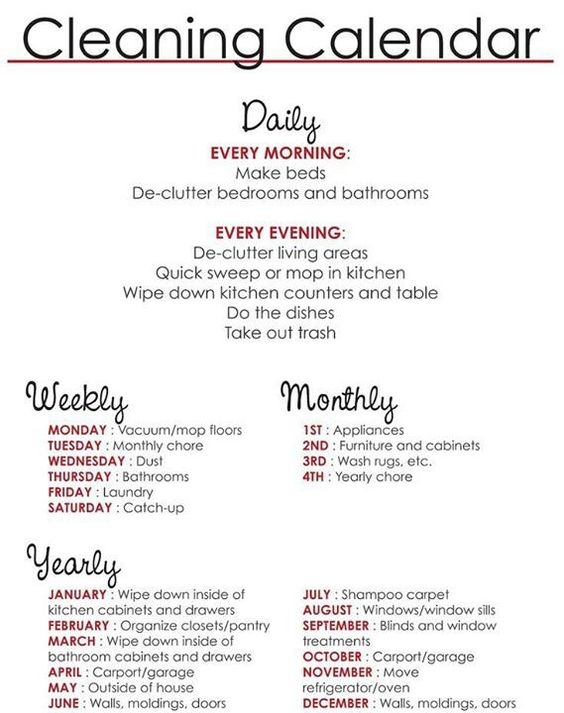 Cleaning Calendar Cleaning schedule for working moms