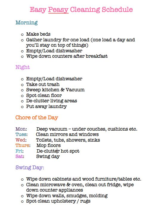 Cleaning schedule for working moms