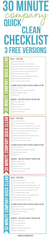 30 minutes quick clean checklist