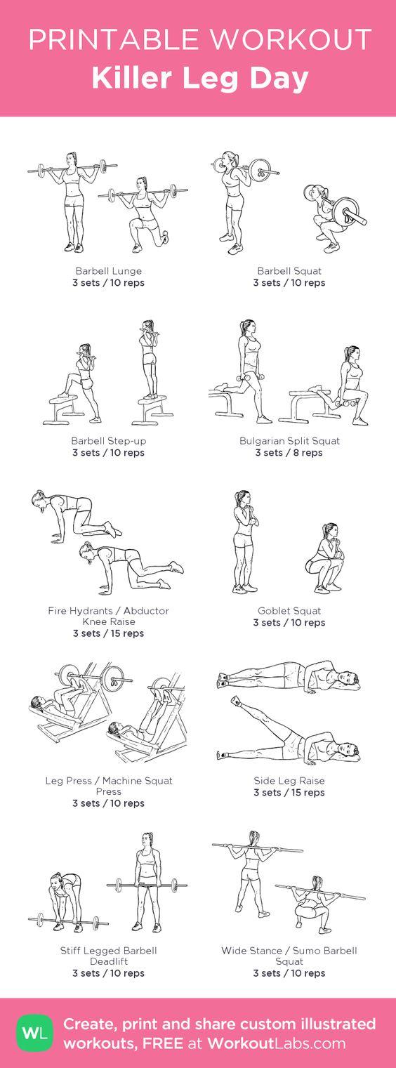Printable Workout Killer Leg Day