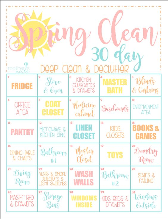 spring cleaning 30 days