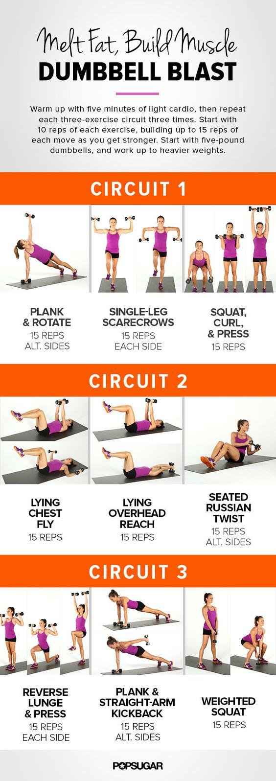 melt fat build muscles dumbbell blast strength training for women