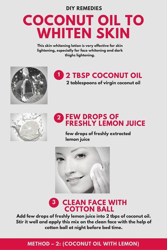 DIY remedies coconut oil to whiten skin