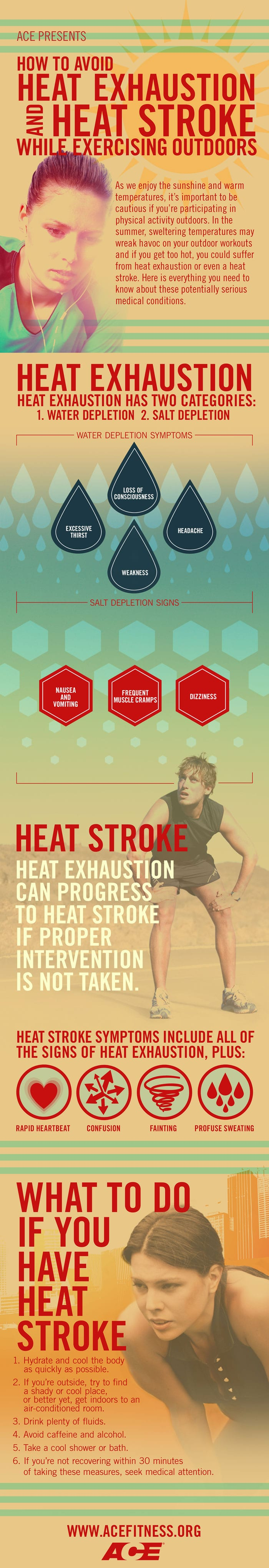 How to avoid heat exhaustion and heat stroke while exercising outdoors