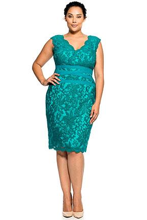 V-Neck Embroidered Lace Dress
