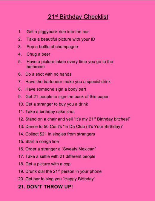 21 birthday checklist