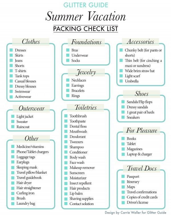 Summer Vacation Packing Check List