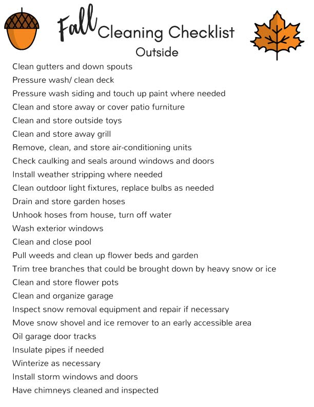 Fall Cleaning Checklist Outside