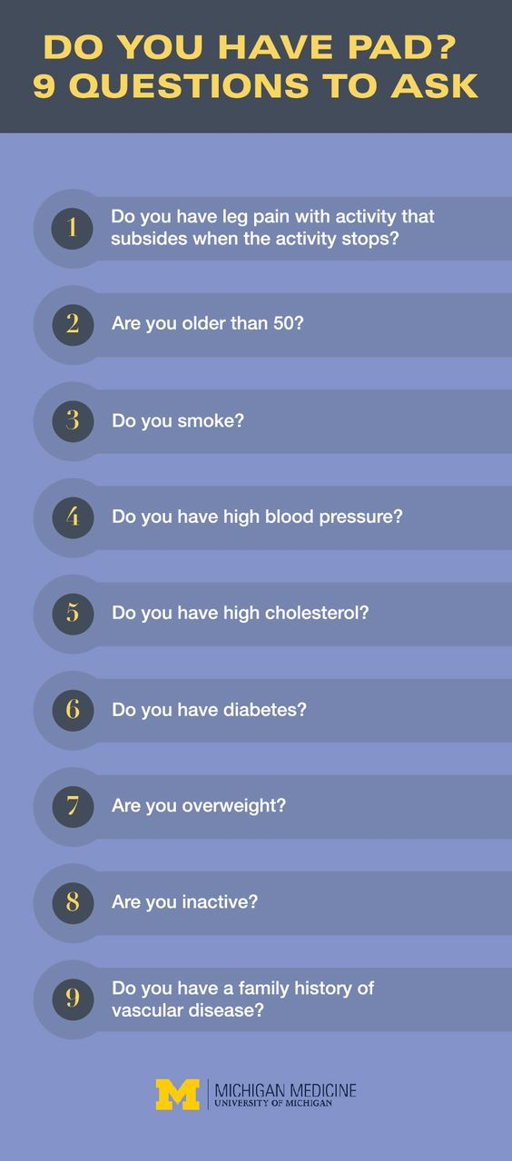 Question to ask if you have Peripheral Artery Disease