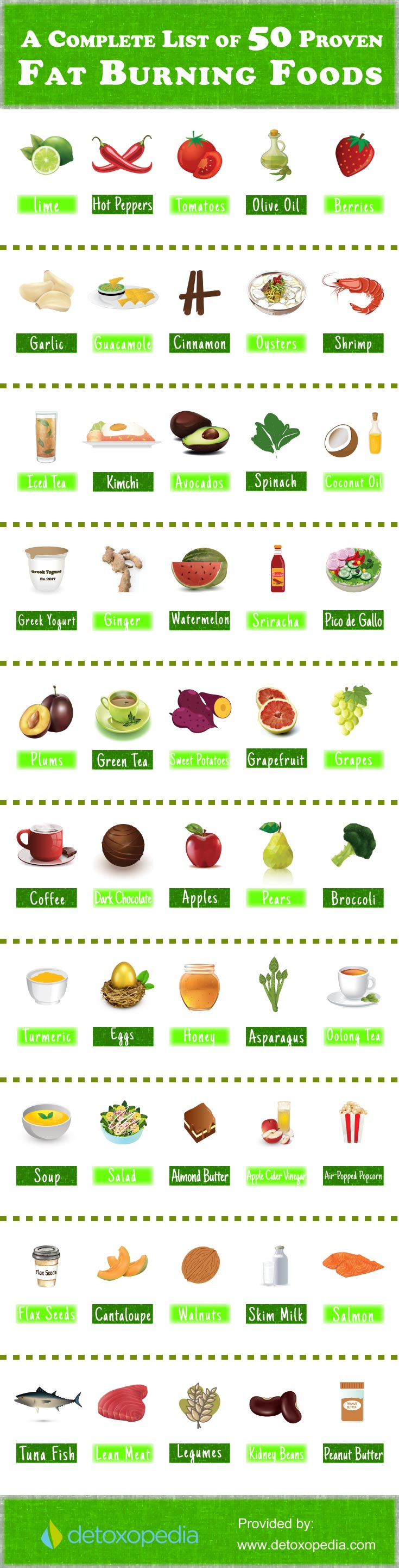 Complete list of 50 proven Fat Burning Foods