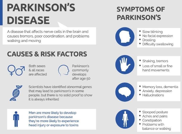 Parkinson's Disease risk factors and symptoms