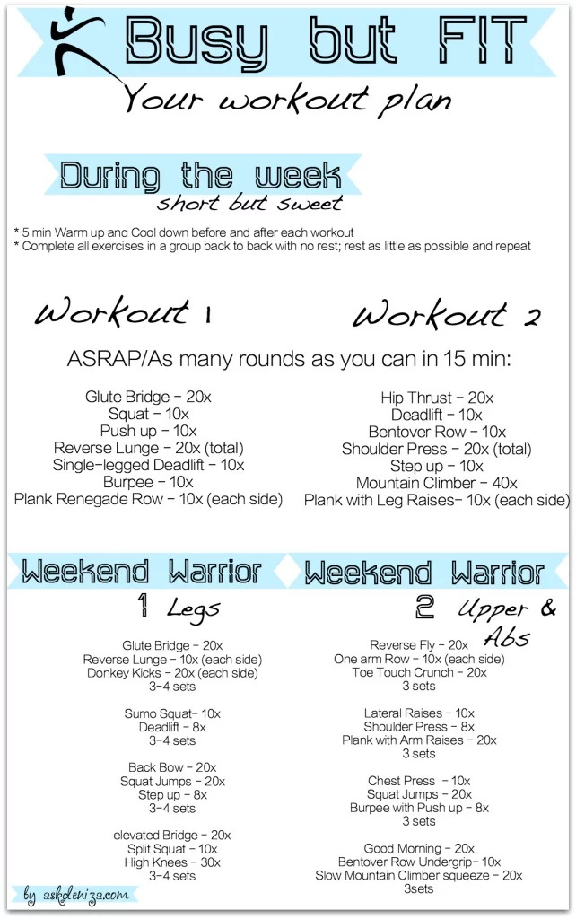 Busy but fit workout plan