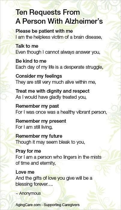 Ten requests from a person with Alzheimer