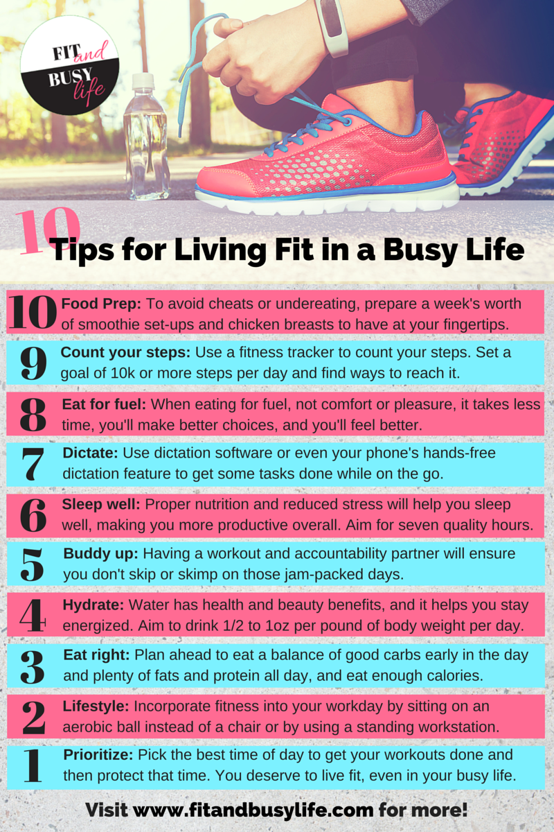 Tips for living fit in a busy life