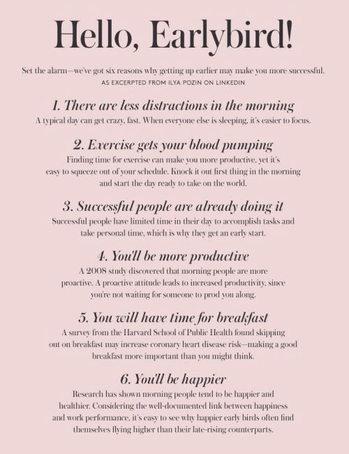 Reasons for getting up early