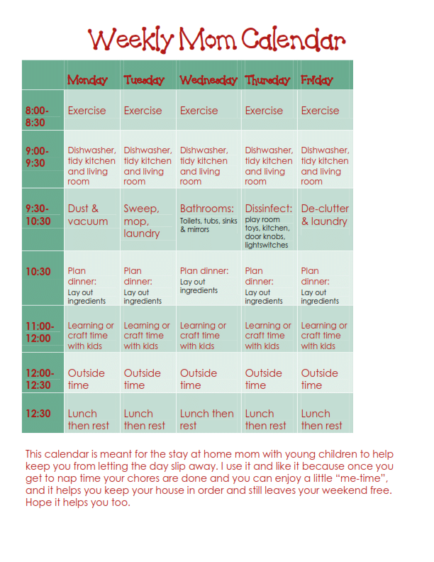 Weekly Mom Calendar