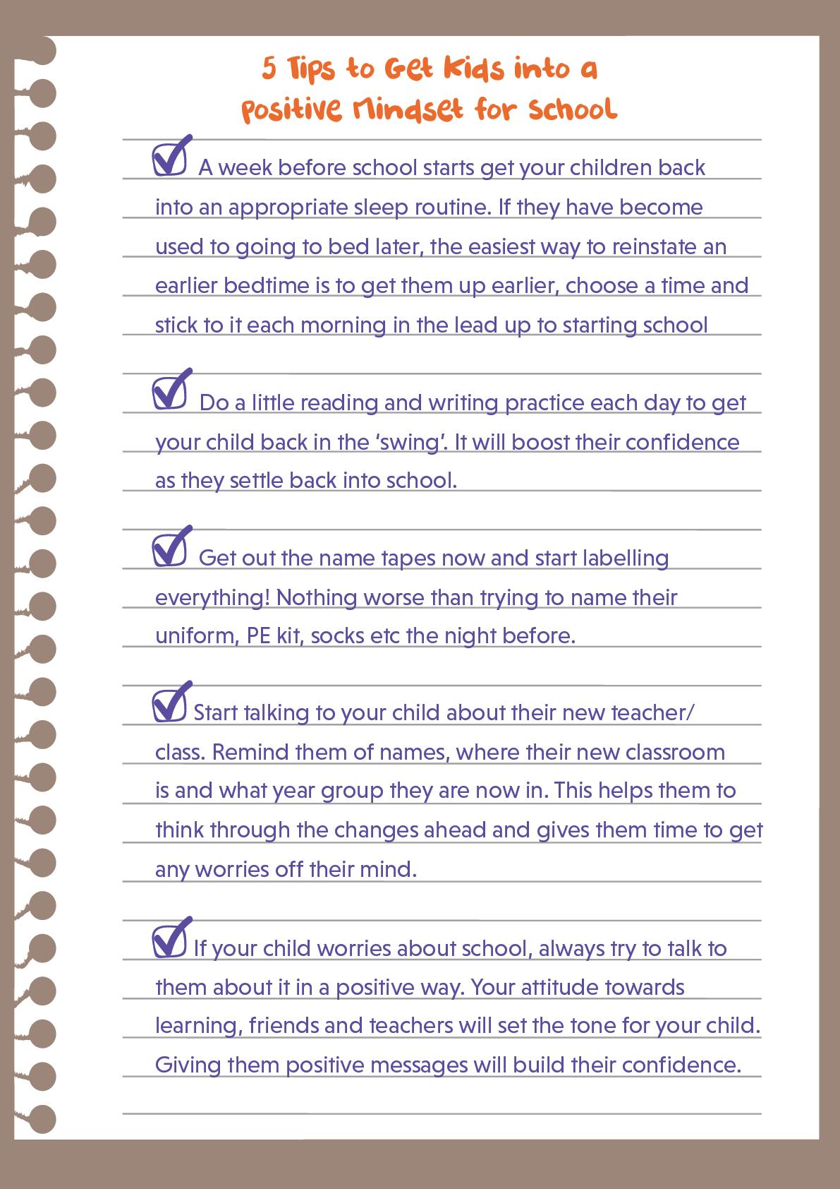 Get kids into a positive mindset for schools