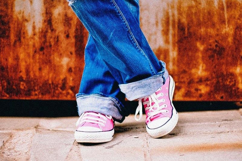 Denim and sneakers