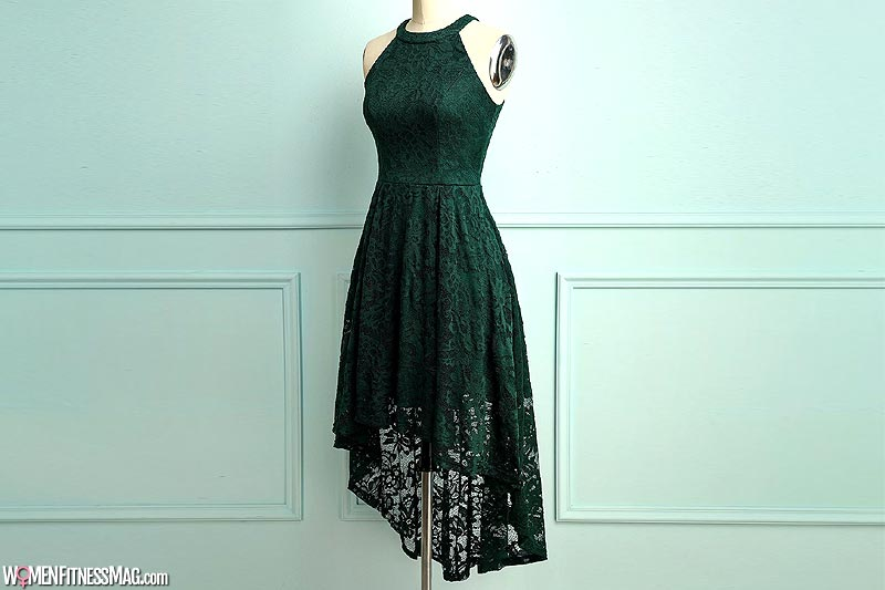 Dark Green Knee Length Lace Dress