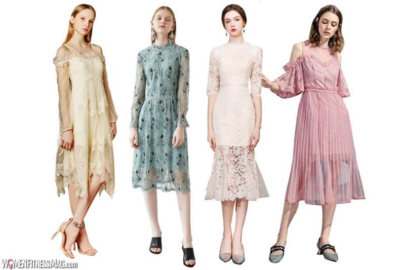 Pastel Colored Lacy Tea Length Dress