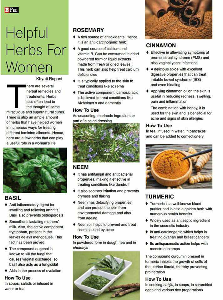 Helpful herbs for women