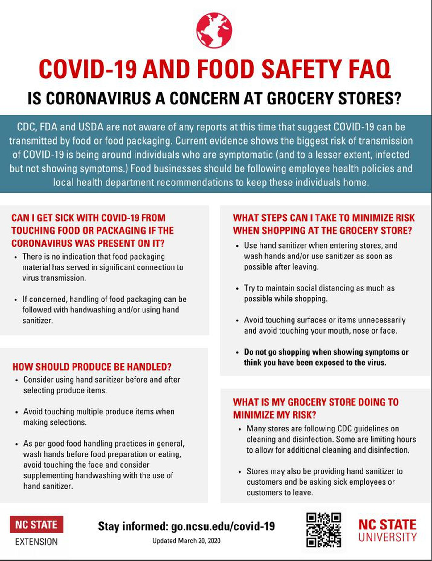 Is Coronavirus a concern at Grocery Stores