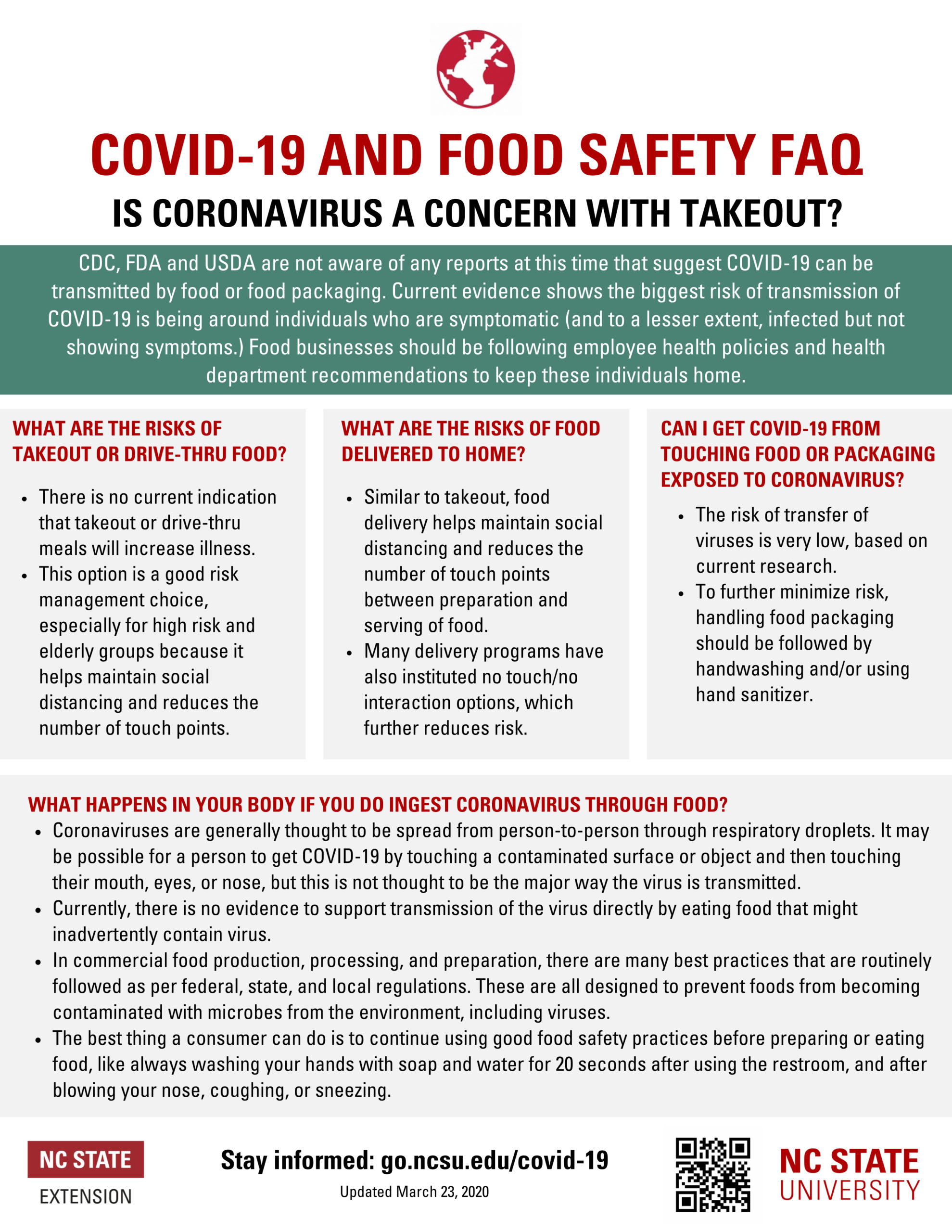 Is Coronavirus a concern with takeout