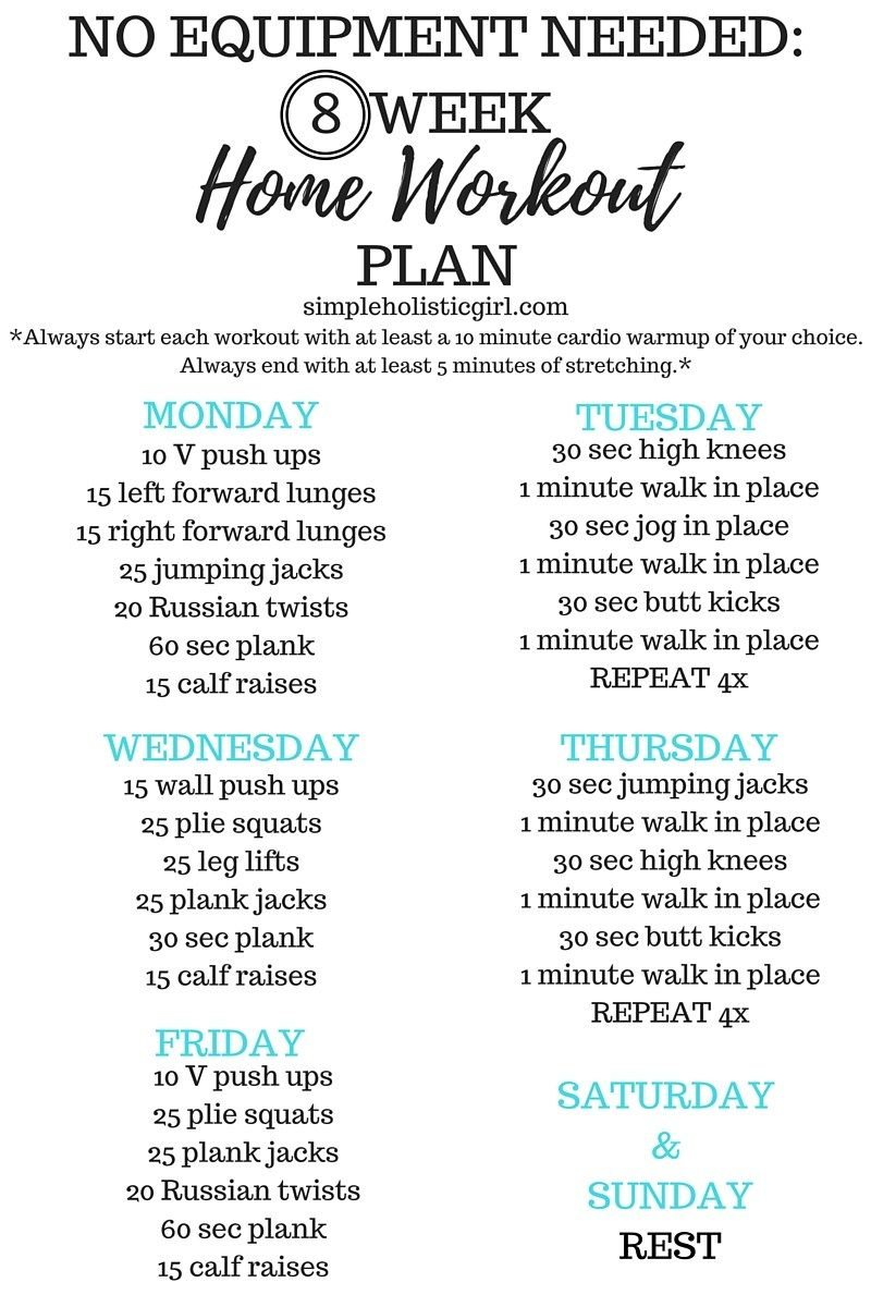 No Equipment needed Home Workout Plan