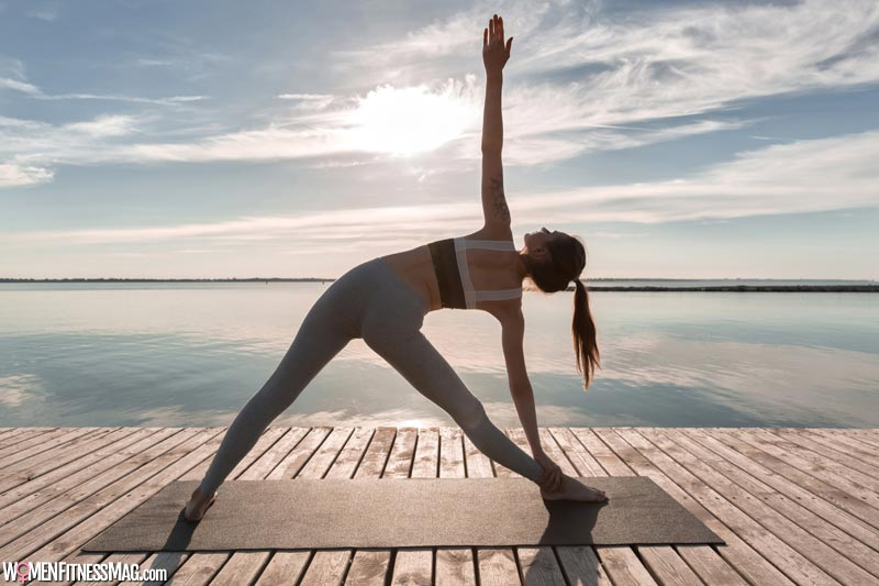 Practicing yoga and meditation